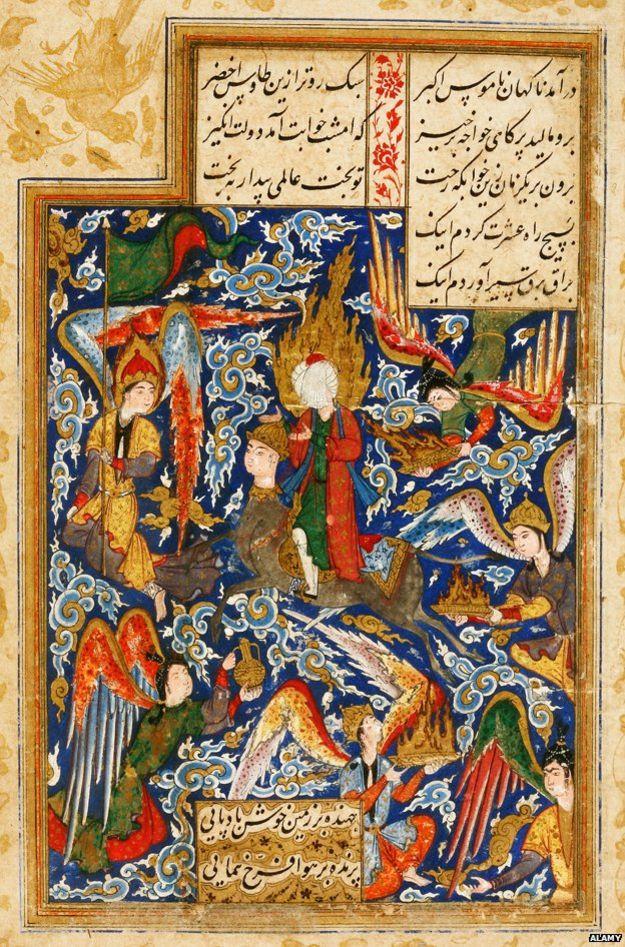16. yüzyılda İran'da yayınlanan bir el yazmasında, Miraç'ı tasvir eden bu resim yer alıyor.