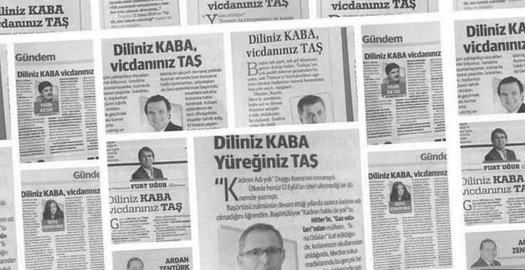 Aynı başlıkla yazı kaleme alan 13 yazarın yazılarından gazete kupürleri