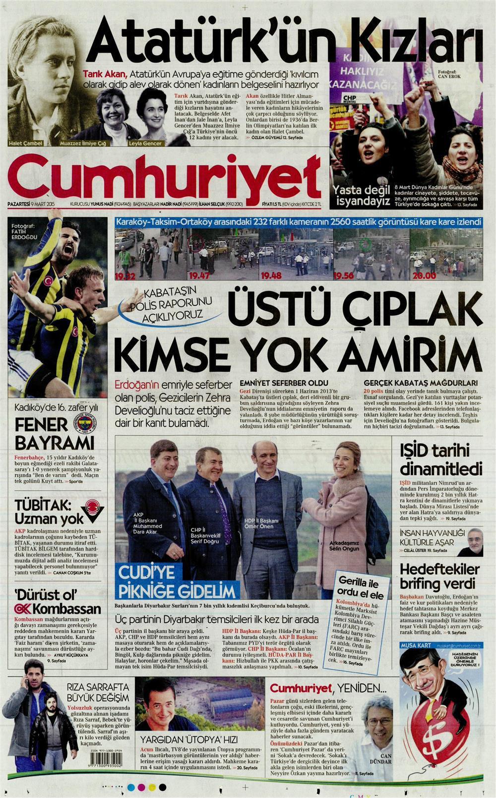 Cumhuriyet'in Kabataş iddialarıyla ilgili polis raporunu yayımladığı manşeti