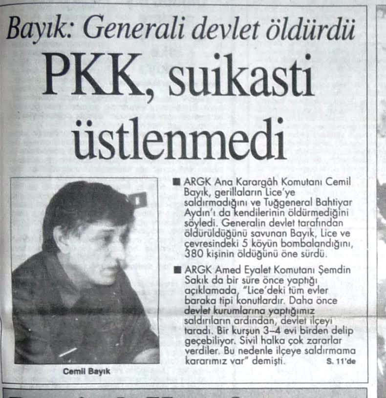 Cemil Bayık'ın suikastla ilgili verdiği söyleşinin yer aldığı gazete küpürü