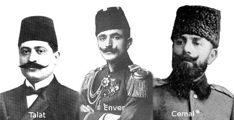 İttihat ve Terakki Cemiyeti'nin liderleri Enver, Talat ve Cemal paşalar