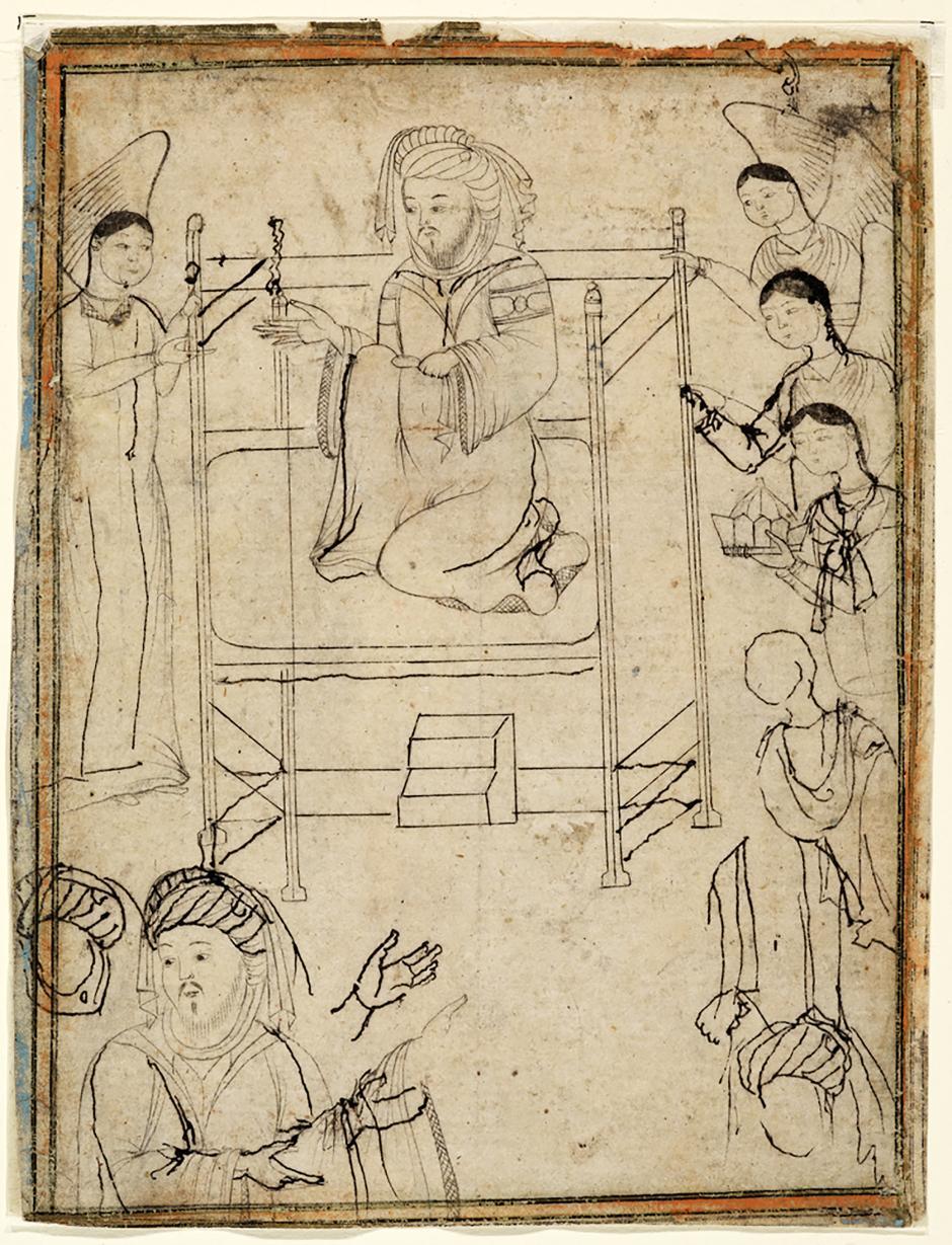 Resim 2. Hz. Muhammed'in tahtta oturan bir hükümdar gibi tasvir edildiği bir is mürekkebi çizim. (İran, 14. yüzyıl. Staatsbibliothek zu Berlin.)
