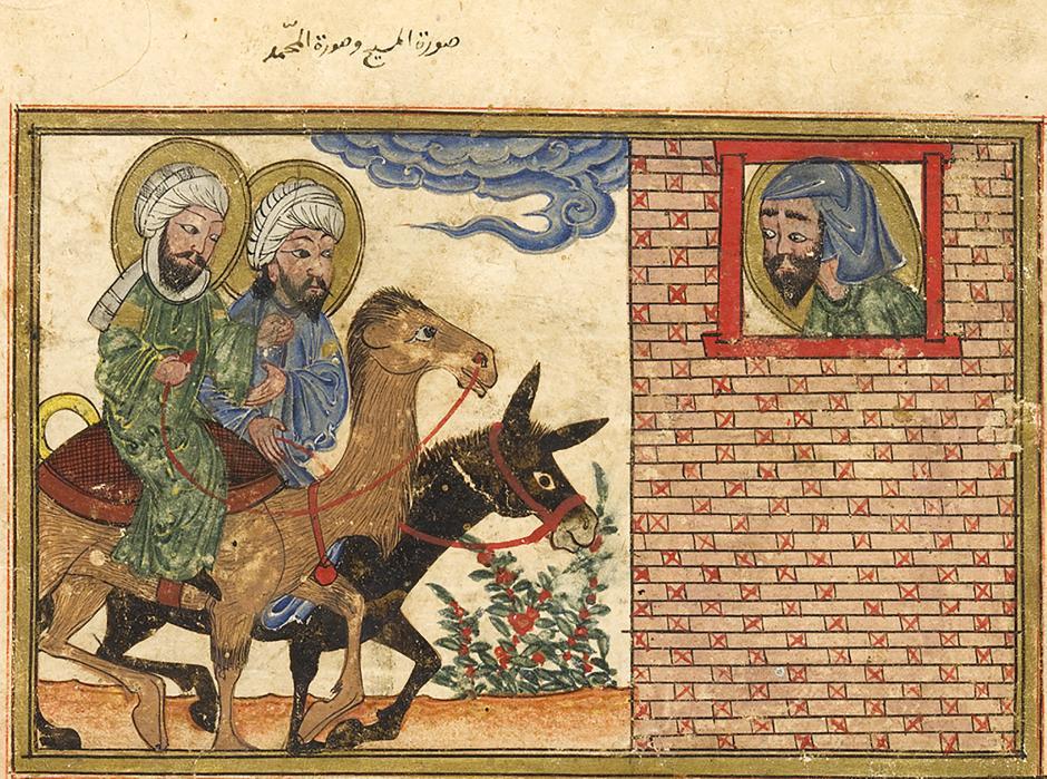 Resim 3. Hz. İşaya'nın düşte gördüğü, eşek sırtında Hz. İsa ve deve sırtında Hz. Muhammed'in tasviri. (Birûnî, el-Âsârü'l-bakıyye an el-kuruni'l-hâliyye, Tebriz, 1307–8. Edinburgh University Library.)
