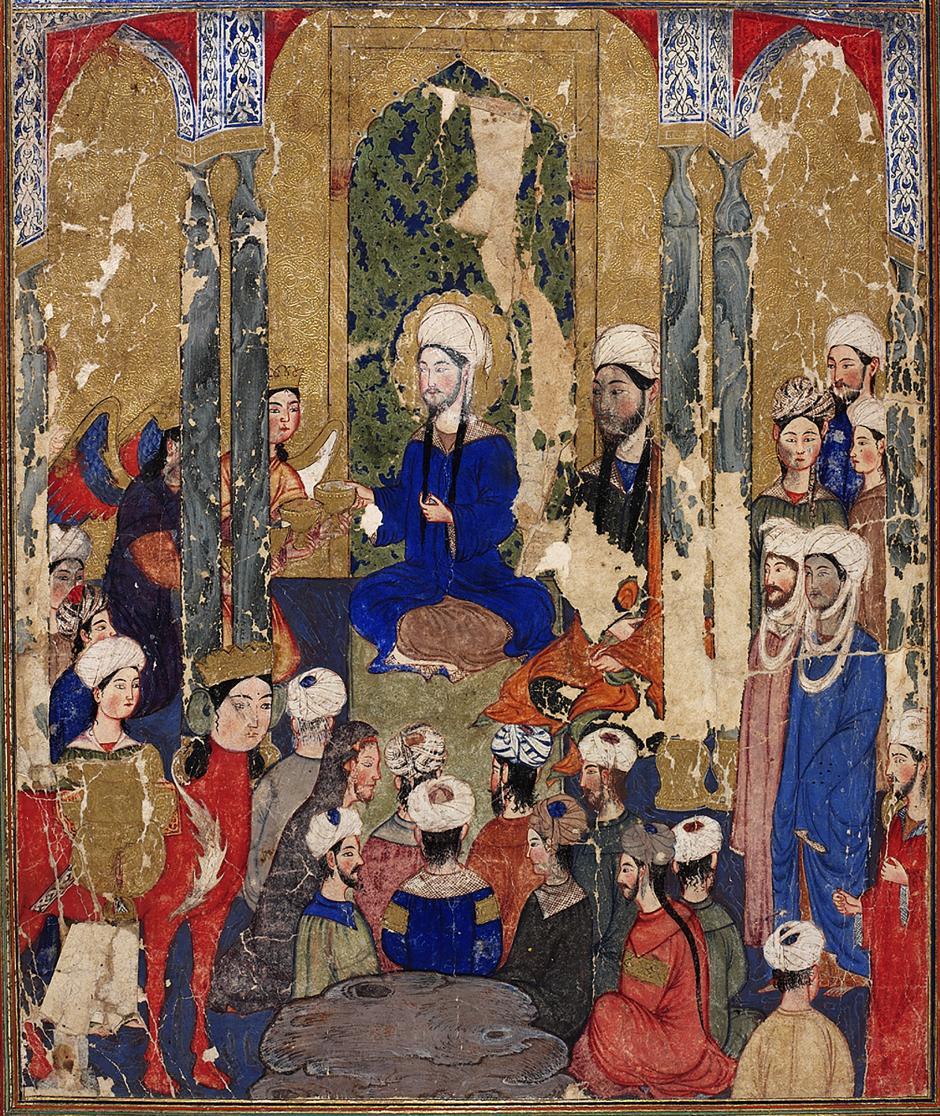 Resim 4. Hz. Muhammed'in, diğer İbrâhimî peygamberlerle birlikte Kudüs'te oturması. (Yazarı belirsiz, Mirâcnâme, Tebriz, 1317–30 civarı. Topkapı Sarayı Müzesi Kütüphanesi.)