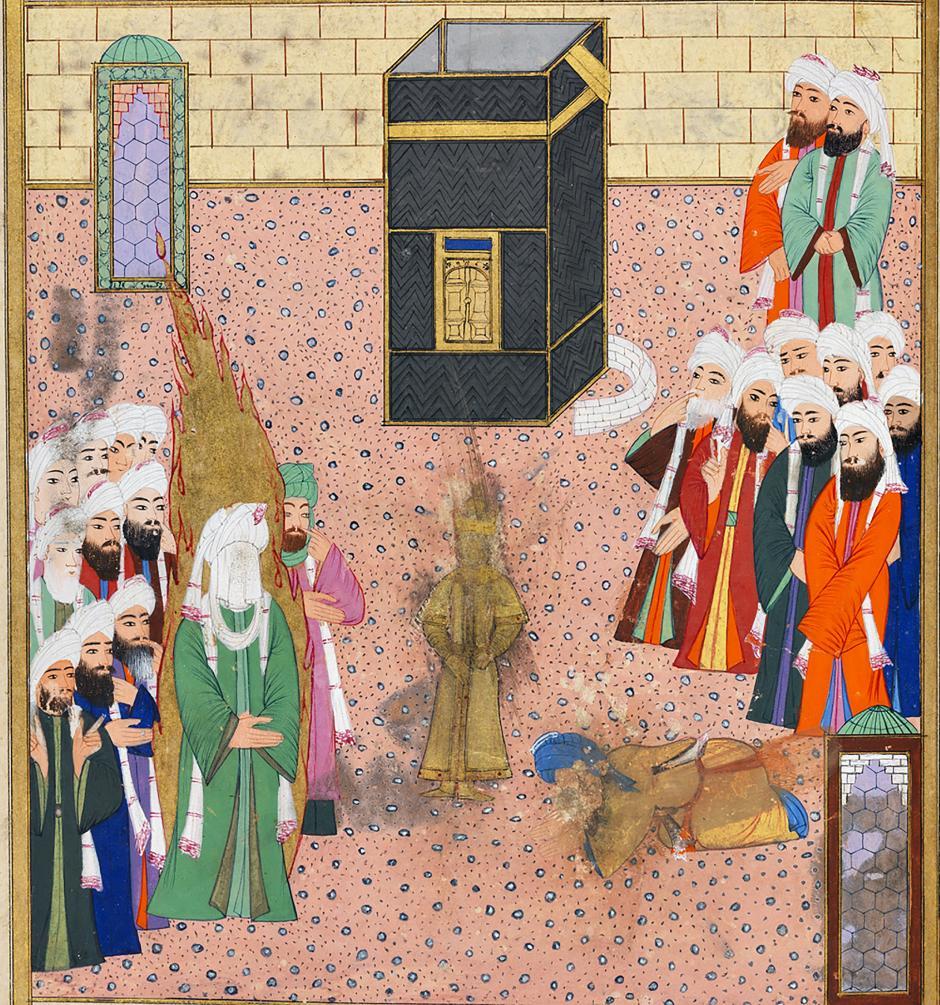 Resim 7. Hz. Muhammed'in Kâbe'ye gelip putperestlerle karşılaşması. (Darir, Siyer-i Nebi, İstanbul, 1595–6. Topkapı Sarayı Müzesi Kütüphanesi.)