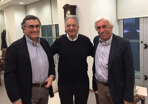 Cengiz Çandar'la (sağda) birlikte eski Brezilya Devlet Başkanı Fernando Henrique Cardoso ile sohbetimiz  futbola da uzandı