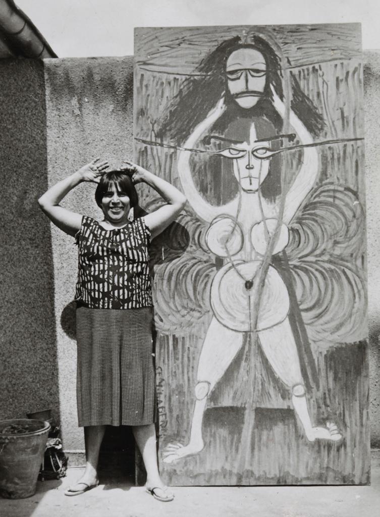 Salome tablosunun önünde Semiha Berksoy
