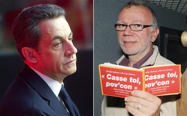 2007-2012 arasında Fransa Cumhurbaşkanı olan Nicolas Sarkozy (solda) ve 'Defol git, geri zekâlı' pankartı nedeniyle yargılanan Herve Eon