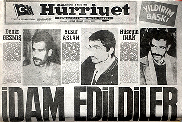 THKO lideri Deniz Gezmiş ve Yusuf Aslan ile Hüseyin İnan 6 Mayıs 1972'de Ankara'da idam edildi