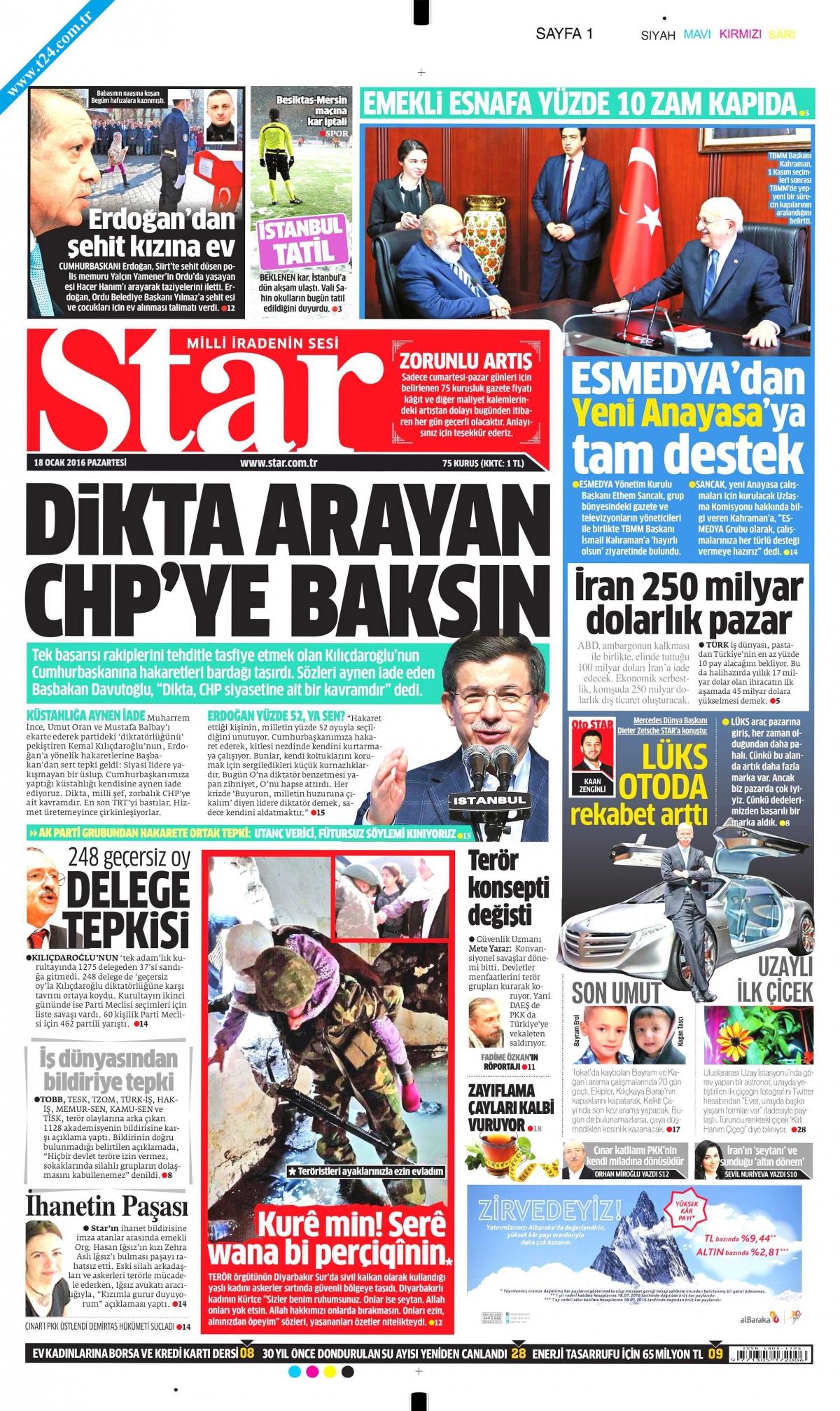 Star'ın bugünkü birinci sayfası