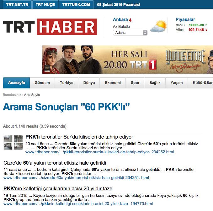 TRT Haber'in internet sitesinde yayından kaldırılan haberin ekran görüntüsü