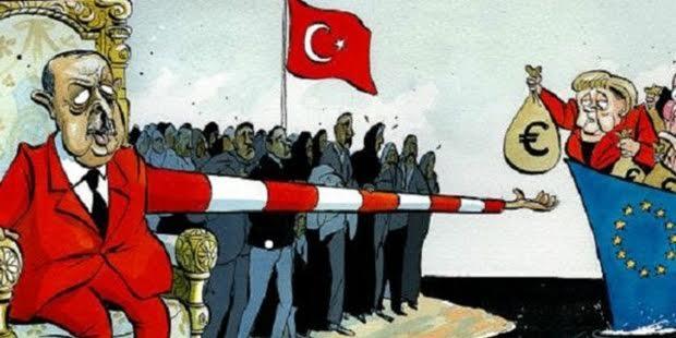 İngiltere'de yayımlanan Times gazetesi, mültecilerle ilgili yapılan pazarlıkta Erdoğan ile Merkel ve Avrupalı liderleri Morten Morland'ın çizgisiyle böyle tasvir etti