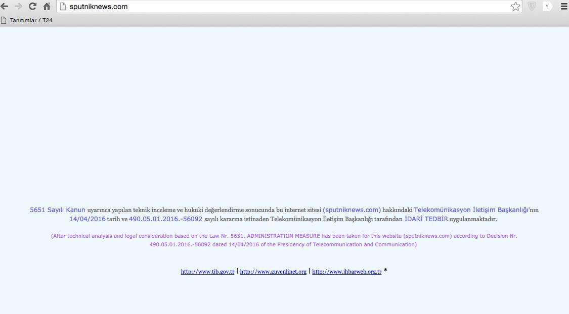 Sitenin İngilizce versiyonu açılınca gelen ekran görüntüsü