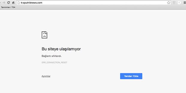 Türkçe yayın yapan Sputnik'e girildiği zaman ekrana gelen görüntü