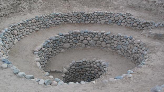 Spiral huni şeklindeki yapılar rüzgarın yeraltı kanallarına girmesini sağlıyordu.