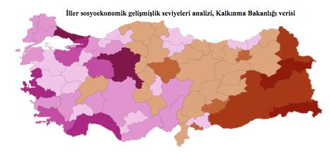 İller sosyoekonomik gelişmişlik seviyeleri analizi, Kalkınma Bakanlığı verisi