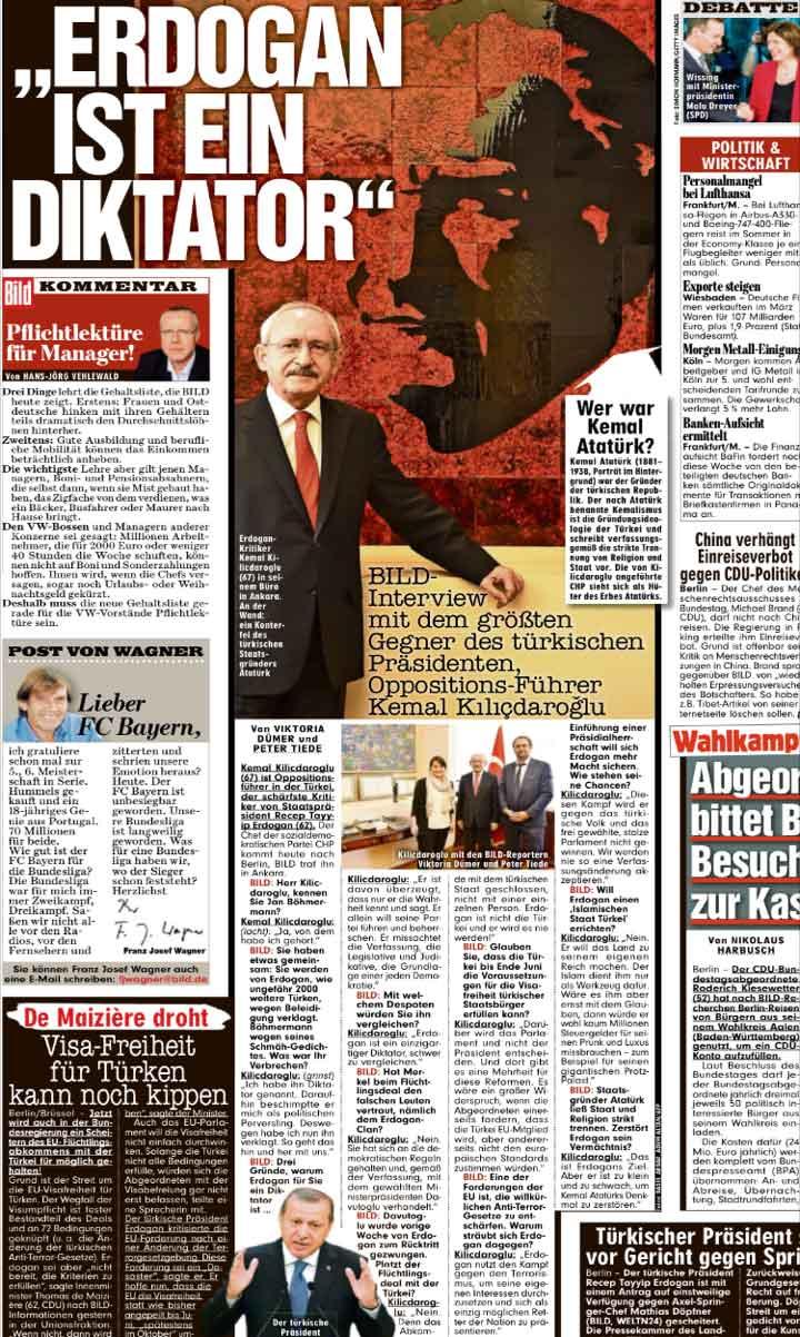 CHP lideri Kılıçdaroğlu'nun Bild'e verdiği bu röportaj internet sitesinden Almanca, Türkçe ve İngilizce olarak yayınladı. Gazetenin basılı versiyonunda ise röportaj tam sayfa olarak, sadece Almanca yer aldı.