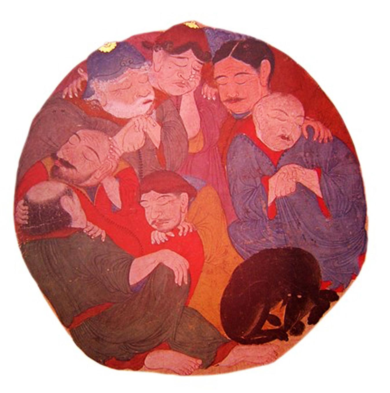 Yakub Beg Albümünden Ashâb-ı Kehf minyatürü. (Muhtemelen Orta Asya, 15. yüzyıl ortaları. Topkapı Sarayı Müzesi Kütüphanesi, H. 2160, v.83a.)