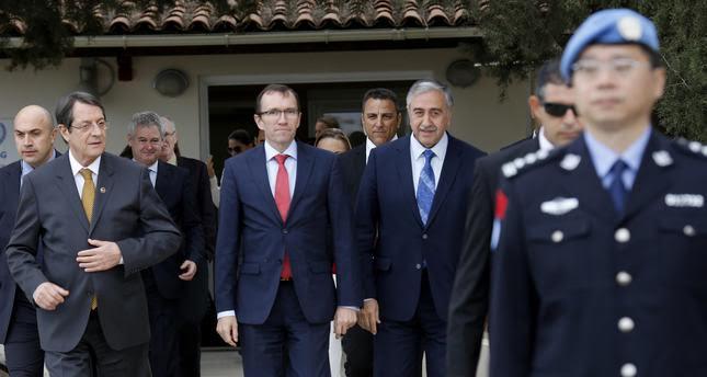 Kıbrıs Cumhurbaşkanı Nikos Anastasiades, BM Genel Sekreteri Kıbrıs Özel Danışmanı Espen Barth Eide, KKTC Cumhurbaşkanı Mustafa Akıncı