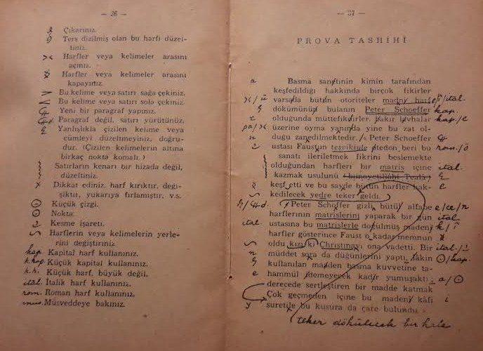 M. Baha Toven'in 1938 tarihli Noktalama kitapçığında musahhihin prova tashihini gösteren sayfa.