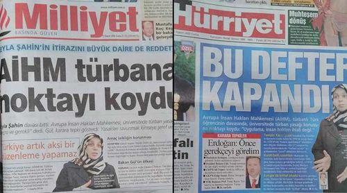Hürriyet ve Milliyet gazetesi, o dönem AİHM'in ret kararını böyle manşetlerine taşımıştı