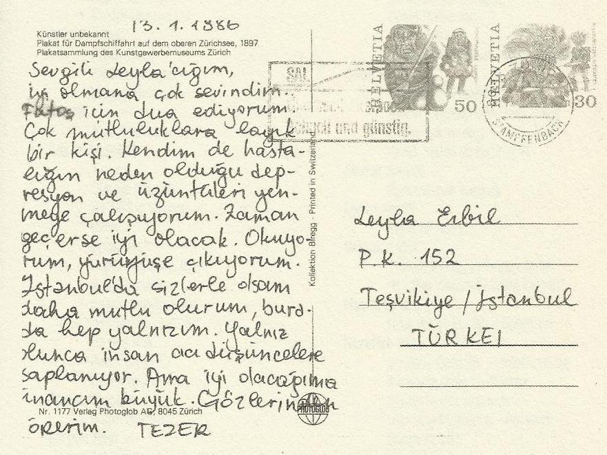 Tezer Özlü'nün Leyla Erbil'e son mektubu(13 Ocak 1986)