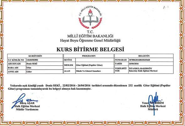 Deniz Seki'nin gitar eğitimine dair aldığı sertifika