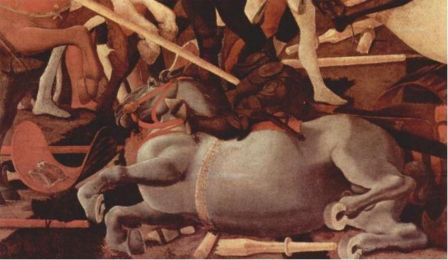 Paolo Uccello'nun San Romano Muharebesi (1435–1455) tablosundan bir ayrıntı.