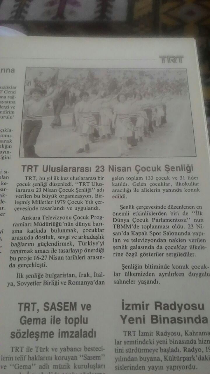 TRT'nin düzenlediği ilk Uluslararası 23 Nisan Şenliği'yle ilgili haber