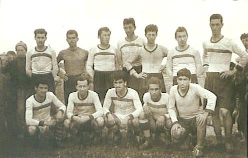 Hacırahmanlı Spor Kulübü futbol takımı. 1950'ler. Yusuf Atılgan, oturanlardan soldan ikinci.