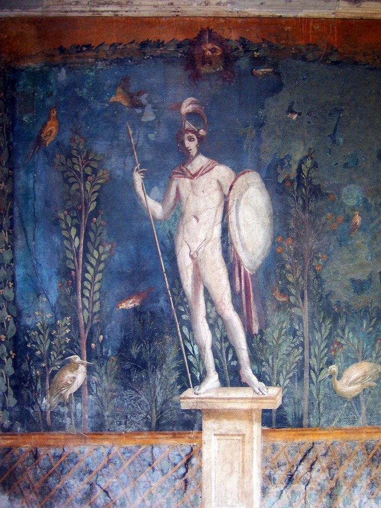 Pompeii Savaş Tanrısı Mars'ın heykelini tasvir eden duvar freski