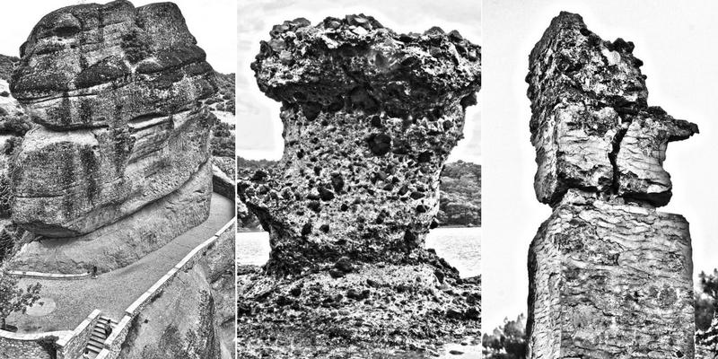 Soldan sağa: Meteora dikiti: Meteora'daki Varlaam Manastırı'na bitişik doğal dikit. Manastıra çıkan yolun bir parçasını oluşturan kayanın bitimündeki köprüden manastıra çıkan merdivenlere geçilir. (2015),  Phaselis dikiti: Phaselis antik kentinin doğal limanının bir noktasında heykelsi bir dikite dönüşmüş doğal bir kaya. (2017),  Kayaköy dikiti: 18'inci yüzyılda kurulmuş Karmylassos kentindeki binlerce binadan geriye kalan çoğunlukla bütünlüğünü yitirmiş yığma taştan konut yapılarıdır. Duvarın üst ucundaki parça, doğal aşınmalara fazlasıyla maruz kalarak dikit görünümü kazanmış. (2016)