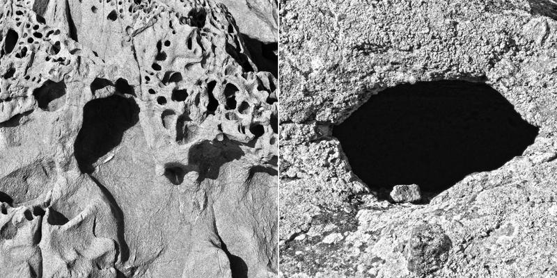 Soldan sağa: Agia Markella: Sakız Adası'nın kuzeybatı ucunda bir kült mekânı olan Agia Markella'nın Akdeniz tarafından barok bir biçimde aşındırıldığı kayalar. (2015), Sandıma: Yalıkavak'taki eski bir Rum köyü olan mübadil Sandıma'daki pek çok oyuktan biri. Sandıma'da sadece üç hane yaşıyor. (2009)