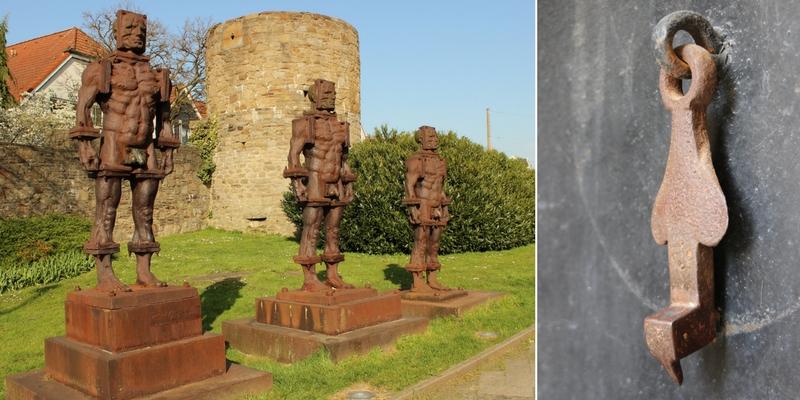 """Soldan sağa: Hattingen: Polonyalı sanatçı Zbigniew Fraczkiewicz tarafından Almanya'nın Ruhr bölgesindeki Hattingen kenti için inşa edilen dökme demirden kent heykelleri. Heykeller, bölgede 1987'de sona eren demir döküm üretiminin anısına, tarihî kent dokusunun kıyısına yerleştirilmiştir. (2015), Mardin: Eski Mardin'deki bir konutun kapısından metal """"horoz"""" tokmak. (2014)"""