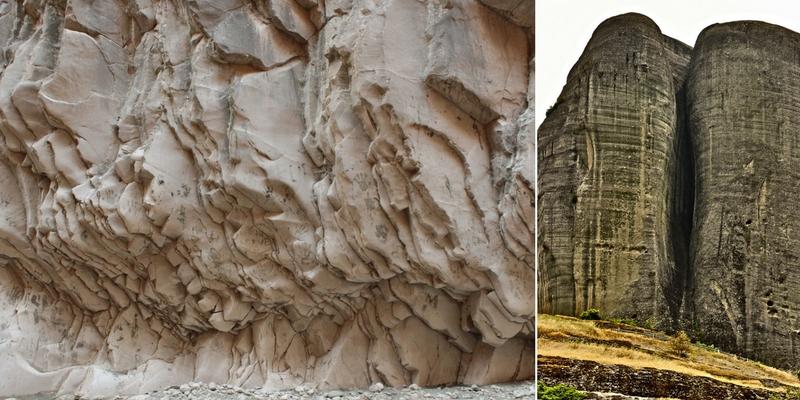 Soldan sağa: Saklıkent: Antalya Saklıkent kanyonundan panoramik görünümler ve kayaç oluşumlarının dokusu. (2017), Meteora yarığı: Kalambaka yakınlarından Meteora kayalarından birinin görünümü. (2015)