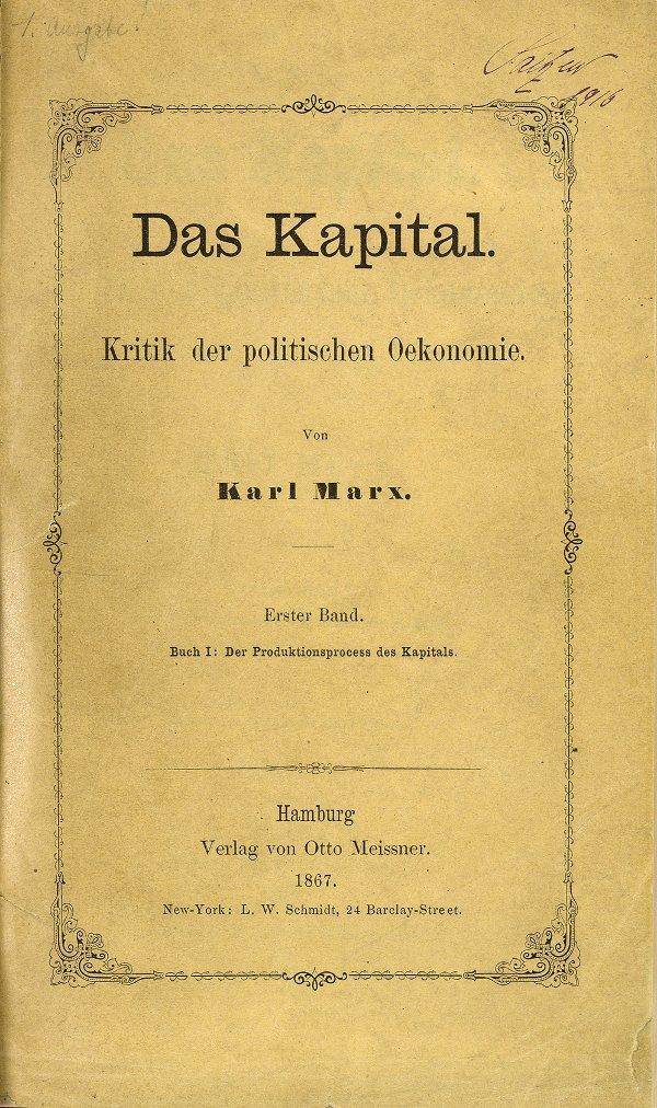 Kapital'in 1867 tarihli Almanca 1. baskısının kapağı