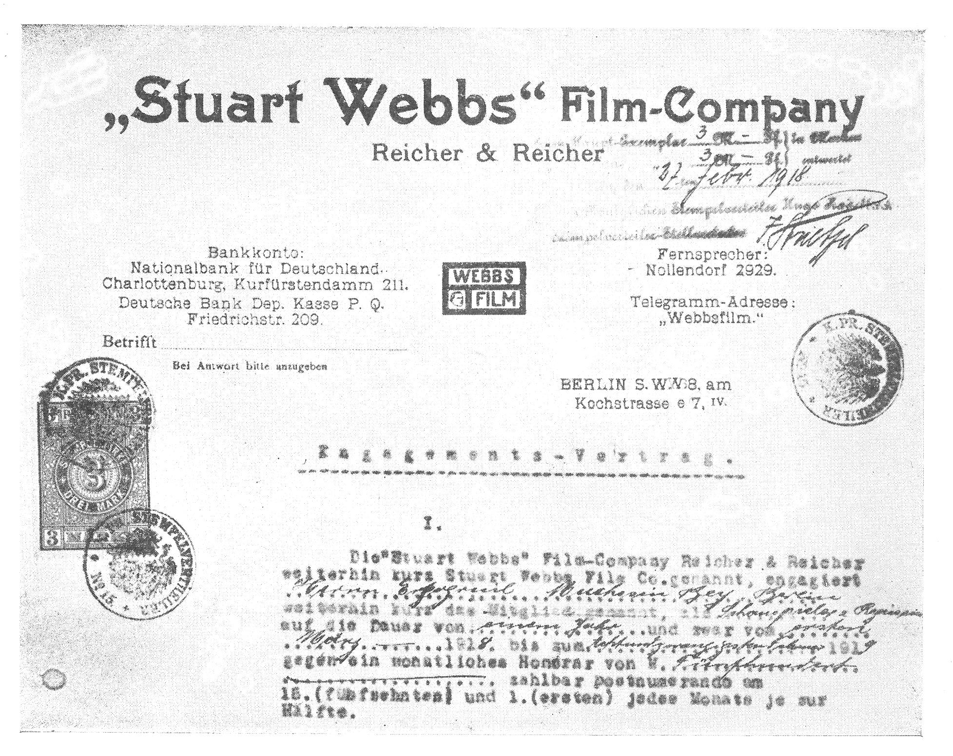 Muhsin Ertuğrul'un Almanya'da yaptığı ilk yönetmenlik sözleşmesi