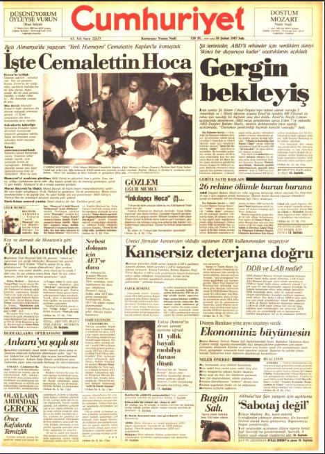 Cumhuriyet'in 10 Şubat 1987 tarihli birinci sayfası
