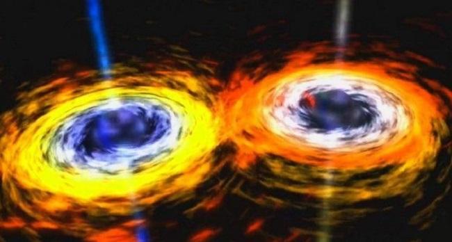 İki büyük kara deliğin çarpışması gibi şiddetli olaylarla ortaya çıkan yerçekimsel dalgalar, bir havuza taş atıldığında yüzeyinde oluşan halkalar gibi dağılmaya başlıyorlar.