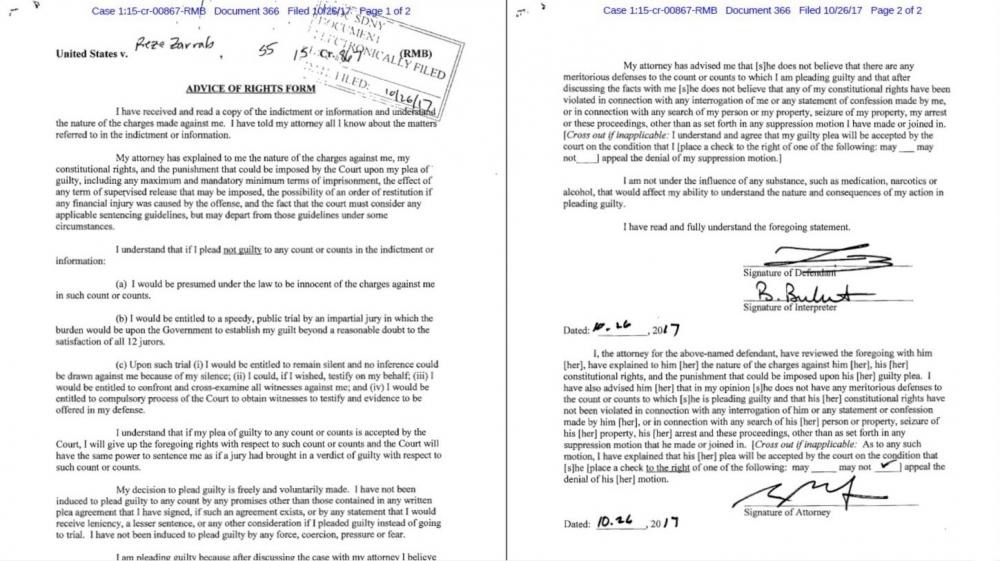 Reza Zarrab'ın suçunu kabul ettiğine dair belge yayınlandı