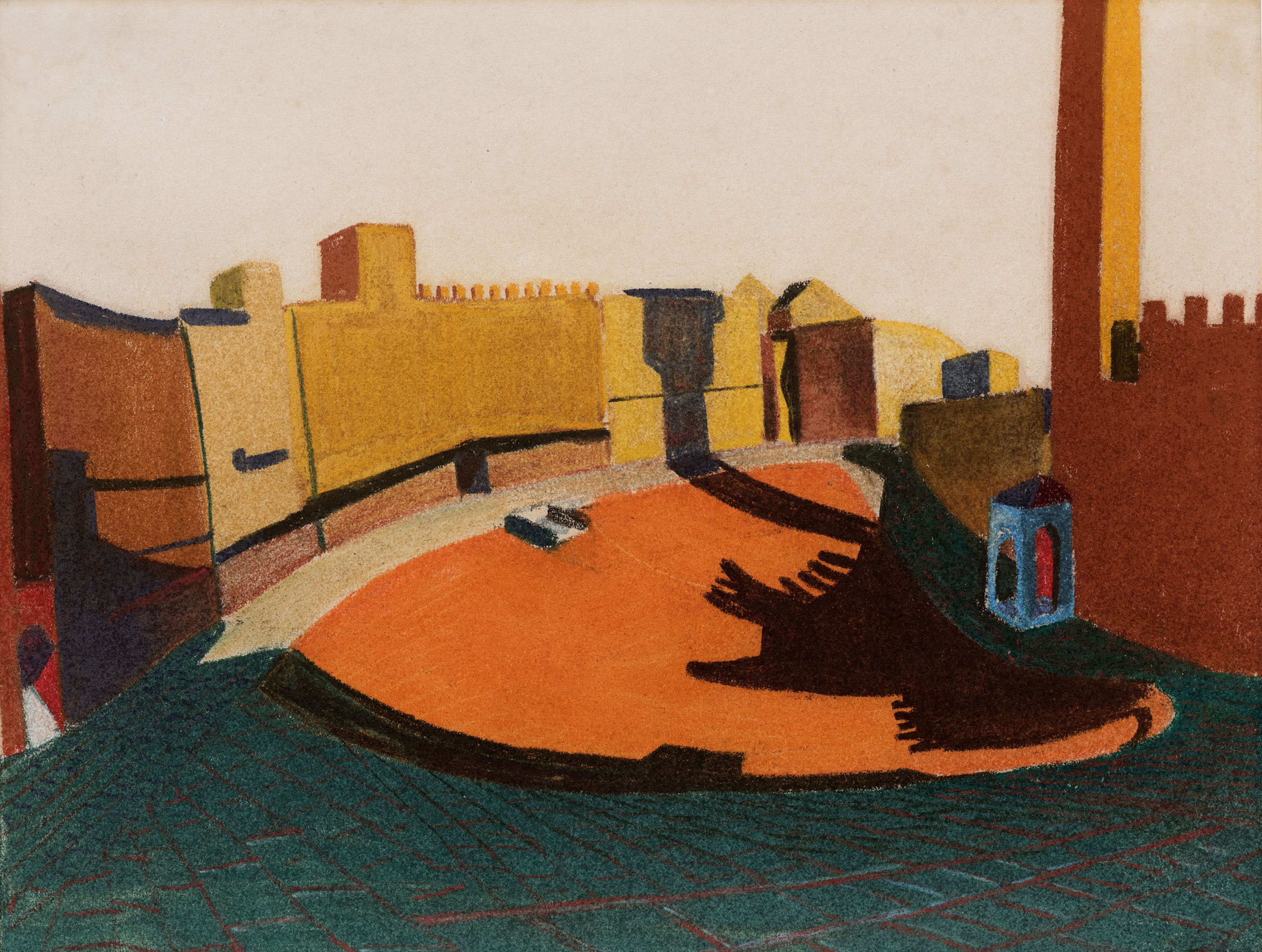 Piazza Del Campo No.2 Siena, İtalya, 1951 ‒ Kağıt üzerine pastel, Nathaniel Kahn Koleksiyonu