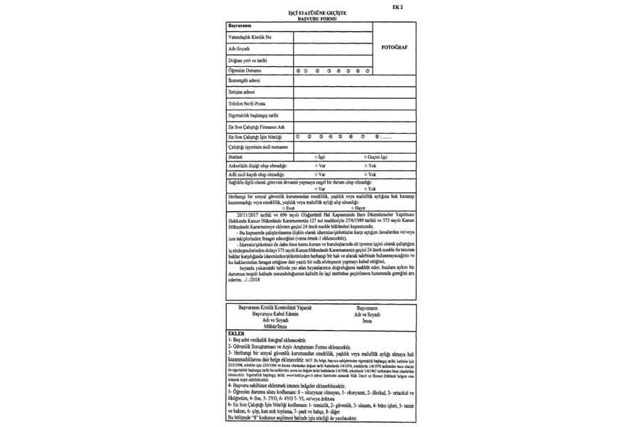 Yerel yönetimlerde çalışan işçiler için başvuru formu (ek-2)