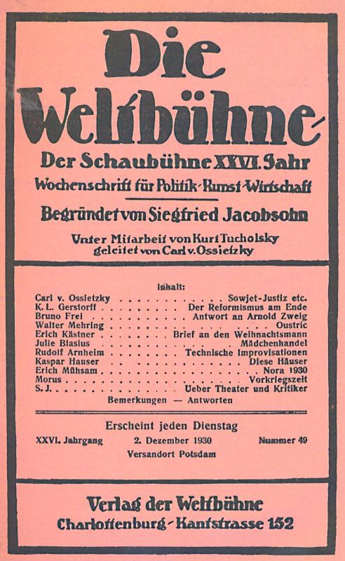 Weltbühne dergisi: Tarih 2 Aralık 1930, sayı 49