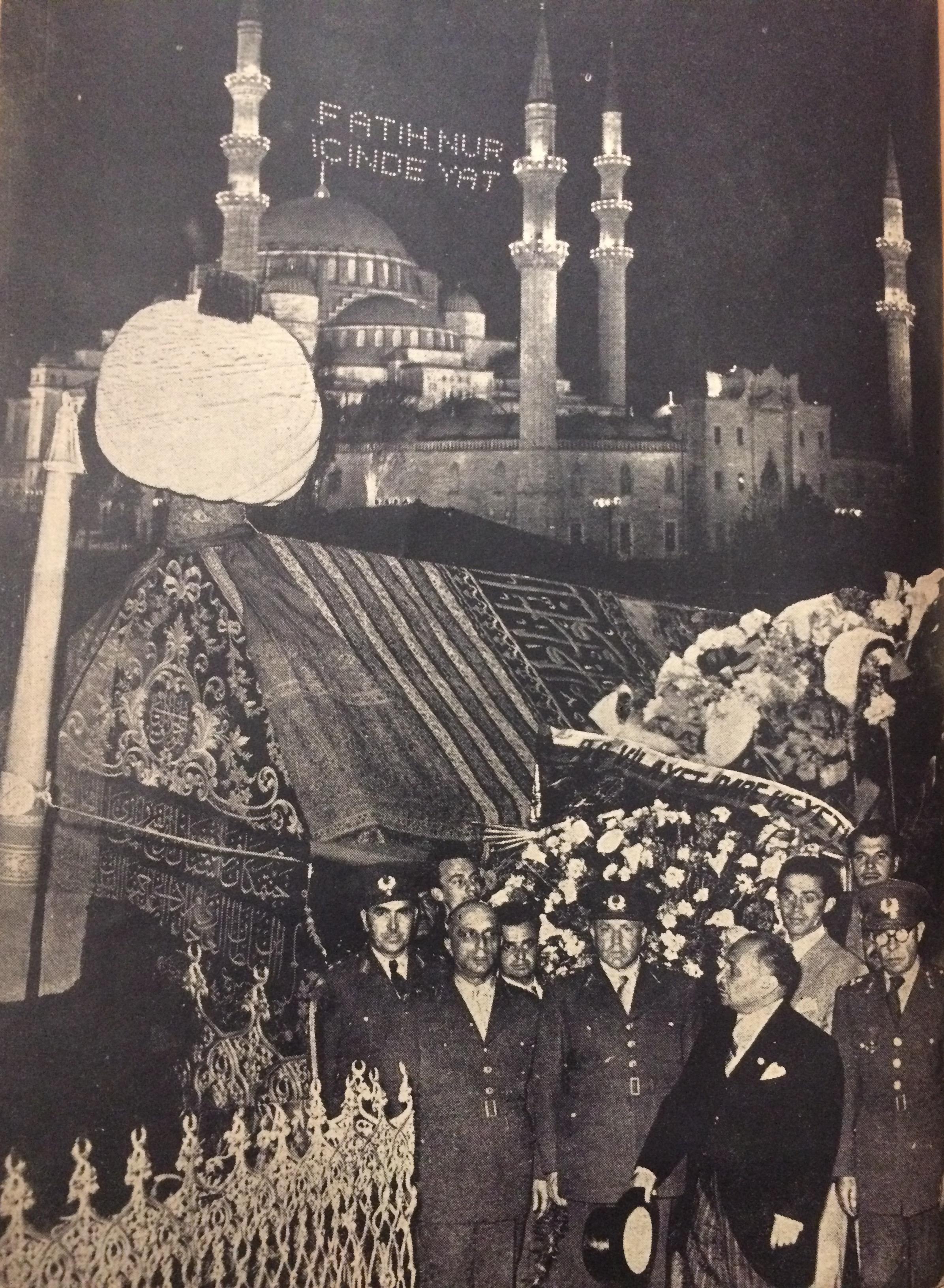 500'üncü Fetih Yılı Şenlikleri Kolajı- Fatih'in sandukası, protokol  ve mahya
