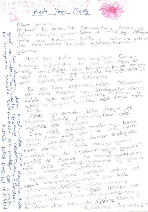 Torunu Rita'nın Nezihe Meriç için 11 yaşındayken yazdığı öykü.