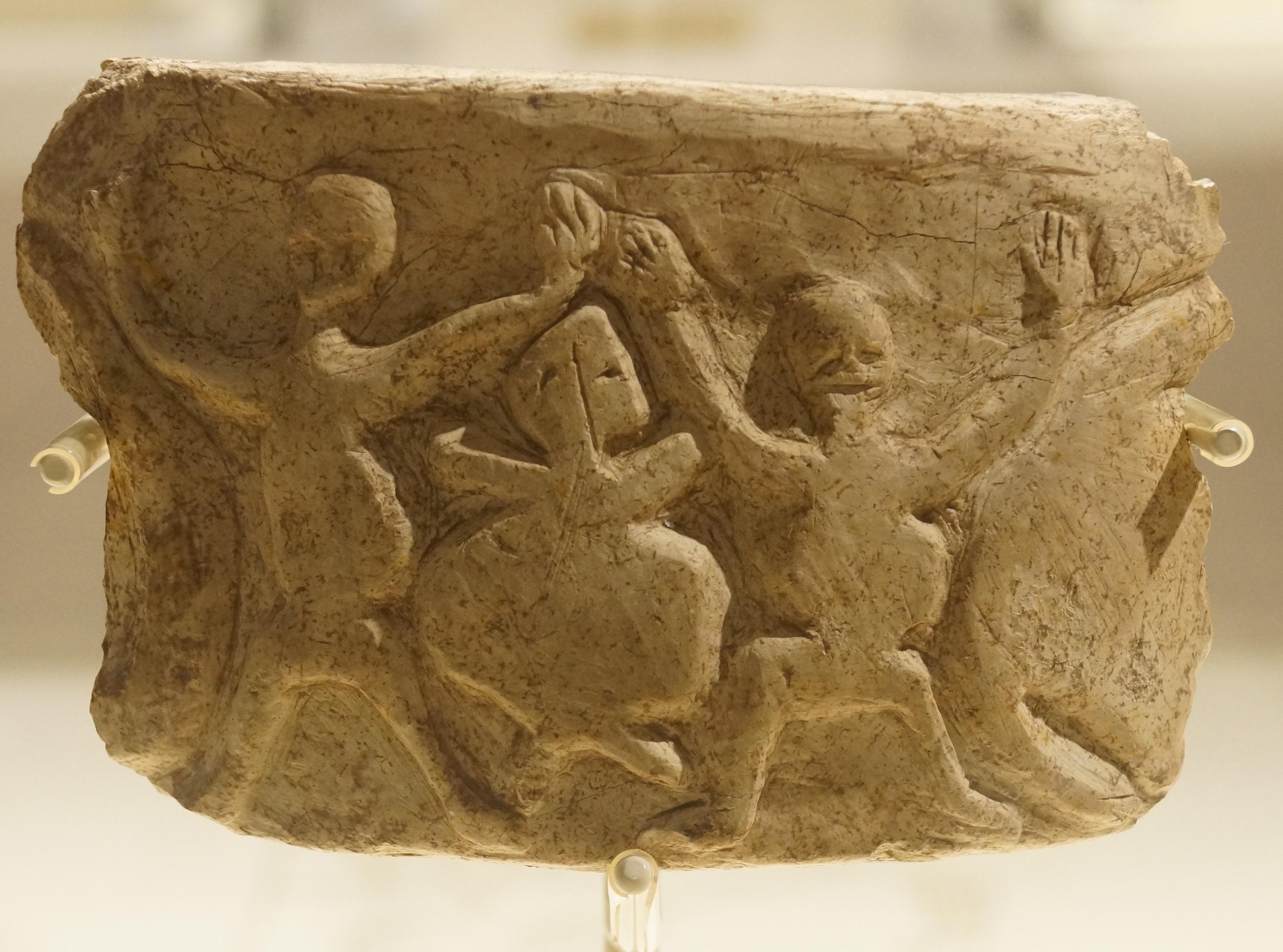 Kireç taşından bir kap, Nevali Çori, Şanlıurfa Müzesi, M.Ö. 8500-7900