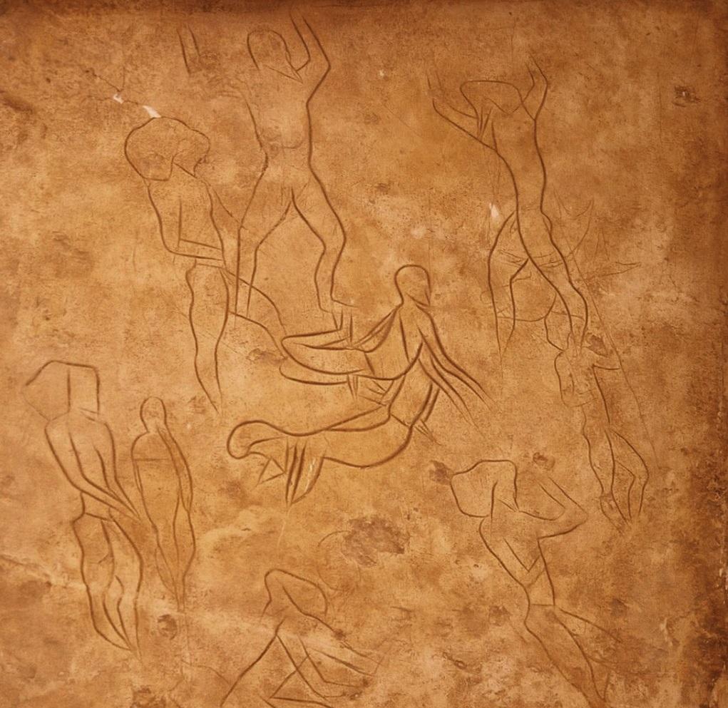 Addaura II Mağarası'ndaki grafiti replikası, Palermo Arkeoloji Müzesi, Sicilya, M.Ö. 15.000-10.000