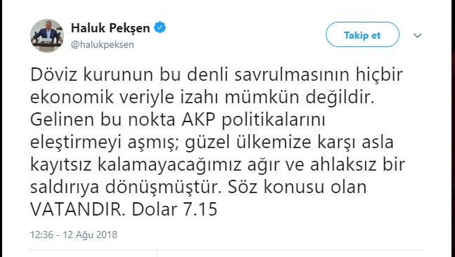 CHPli Pekşenden dolar tepkisi: Ahlaksız bir saldırı, söz konusu vatandır 5