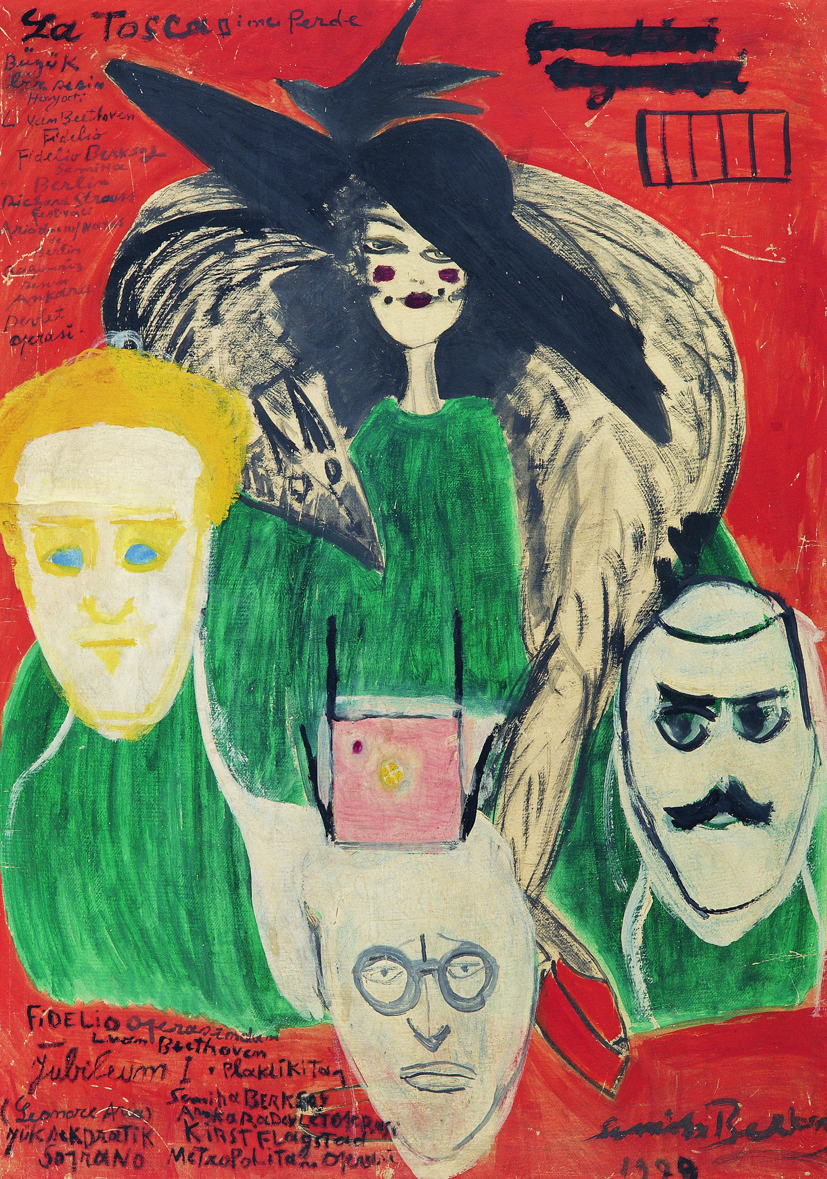 Hapisanede Ziyafet, Semiha Berksoy, Resimdekiler: Semiha Berksoy, Nâzım Hikmet, Hikmet Kıvılcımlı ve Kemal Tahir.