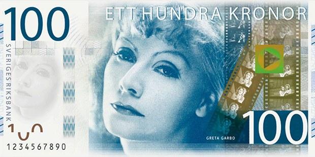 Greta Garbo'nun portresiyle süslü olan 100 Kron.